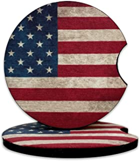 2.75 英寸(约 6.9 厘米)自然生活彩色叶子汽车杯垫女式氯丁橡胶杯架带指槽的杯垫,可爱的橡胶汽车小工具,汽车汽车内饰配件,GLRYJET(美国国旗,2 件装)