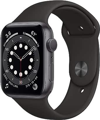 新款 Apple Watch 系列 6 (GPS,44mm) - 太空灰色铝制外壳带黑色运动表带