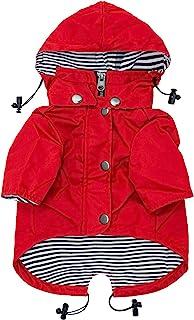Ellie Dog Wear 红色拉链狗狗雨衣,带反光纽扣,口袋,防雨/防水,可调节抽绳,可拆卸连帽衫 - 尺码XS 至 XXL - 时尚高级狗狗雨衣(S)