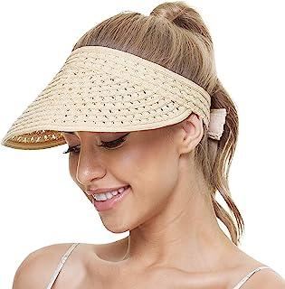 女士遮阳板女式太阳遮阳帽 太阳沙滩帽 草帽 手工网状编织