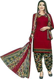 Ladyline 女式仿绉纱印花沙丽克米兹印度巴基斯坦缝制连衣裙 Maroon (26) 50