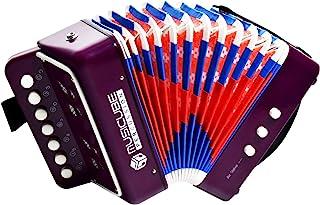 MUSICUBE 儿童手风琴乐器玩具 10 键按钮小手风琴 适合男孩和女孩教育乐器玩具 感恩节礼品选择(紫色)