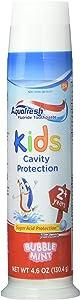 Aquafresh 水晶莹儿童牙膏,三重保护, bubblemint ,4盎司(130.4g ) 3片装 13.8