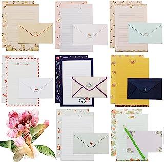 72 件文具纸和信封套装,文具套装带内衬信纸书写纸,男女男女适用,8 种不同款式(48 张文具纸 + 24 个信封)