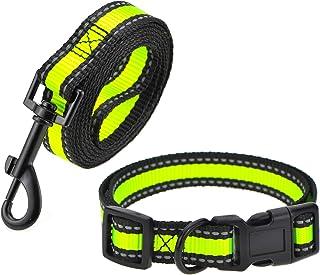Night Reflective Nylon Strap Smaller Pet Dog Leash, Collar Combo set Lime Green 2 Pack Leash Collar 大