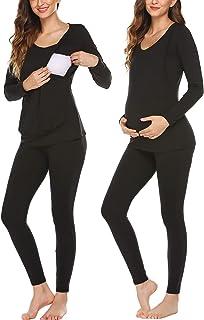 Ekouaer 孕妇护理保暖内衣睡衣套装针织冬季睡衣套装长约翰套装孕妇底层