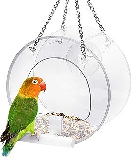 Jhua 挂窗鸟类喂食器,户外透明丙烯酸鸟笼喂食器,独特圆形鸟舍飞溅笼悬挂喂食碗,带强力吸盘和用于观鸟红雀的挂链。