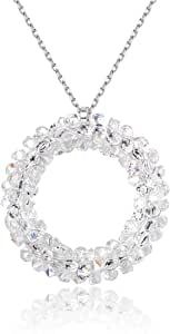 Sllaiss S925 项链施华洛世奇水晶圆形吊坠项链女式白色水晶项链送给她的水晶圆形项链