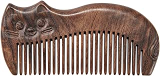 VICUTU 木制檀香发梳 适合女士男士宽齿 坚固顺发 防静电手工礼品梳