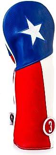 Pins & Aces 德克萨斯高尔夫球杆头套 - 优质,手工制作皮革孤星设计头套 - TX 骄傲风格,旅游质量高尔夫球杆套 - 风格和定制您的高尔夫球包