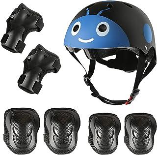 Besmall 儿童滑板头盔护膝 2-8 岁幼儿可爱头盔带防护装备套装 7 件,适合儿童女孩男孩自行车自行车骑行滑板车直列滑冰