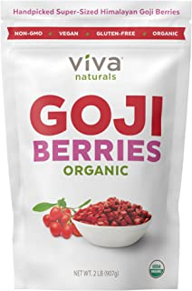 Viva Naturals Premium Himalayan Organic Goji Berries, Noticeably Larger and Juicier, 2lb