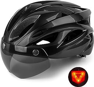Shinmax 自行车头盔,男士女士自行车头盔,带可拆卸遮阳板自行车头盔,可调节尺寸,适合成人山地路
