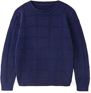Curipeer 男童女童毛衣秋季纯色儿童圆领套头衫冬季 7-11 岁