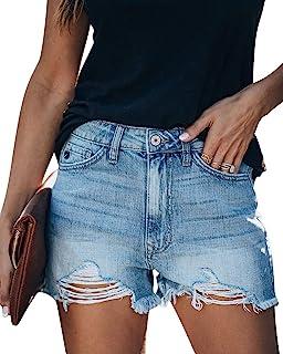 MIFOCAL 女式夏季牛仔短裤磨损破洞休闲牛仔短裤