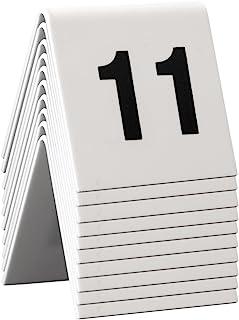 Securit 餐桌编号套装 11-20。 白色丙烯酸带黑色字体(10 件套)
