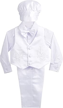 Dressy Daisy 男宝宝缎面洗礼套装正式套装 5 件套,带帽网