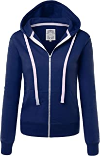 MBJ Womens Active Soft Zip Up Fleece Hoodie Sweater Jacket