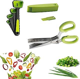 UMIKAkitchen 5 层草本剪刀套装 - 用于切割新鲜花园草本的酷炫厨房工具 - 3 件套,带 4 个量勺,可用洗碗机清洗的割草剪刀(*)