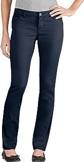 Dickies 女士青少年 5 口袋弹力斜纹裤 修身喇叭裤 深蓝色 5