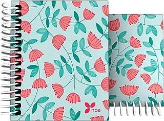 Grafoplás 16531960 笔记本 带花朵图案 A7 精装 100 页 方格 4 种材料 Bloom Design Noa