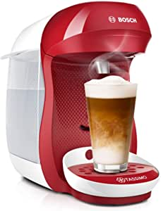 Bosch 博世 Tassimo Happy 胶囊咖啡机 TAS1006 可制备超过70种饮品,全自动,适用于各种杯容,空间集约型,1400W,红色/白色