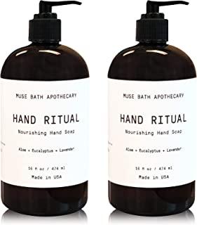 Muse Bath Apothecary 洗手液 - 芳香滋养洗手液,16 盎司,含天然精油 Aloe + Eucalyptus + Lavender 2 件装