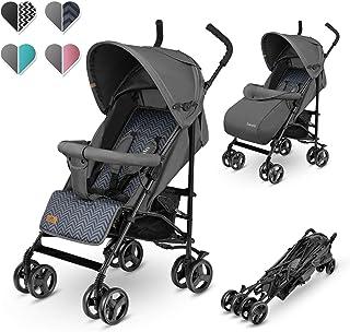 Lionelo Elia 婴儿车,小型可折叠,婴儿车,承重 15 千克,背部和脚踏板调节,后轮制动器,蚊帐,暖腿,雨罩,购物篮(石墨色)