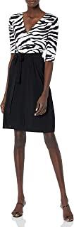 Star Vixen Women's Elbow-Sleeve Faux-Wrap Dress