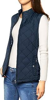Allegra K 女式立领轻型薄纱夹棉拉链背心