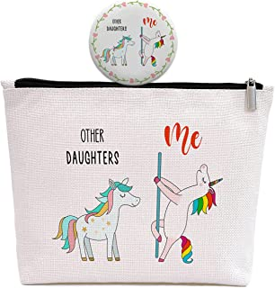 Unicorn Daughters 生日礼物 - 带可爱镜子的化妆包 - 毕业典礼,其他女儿,我