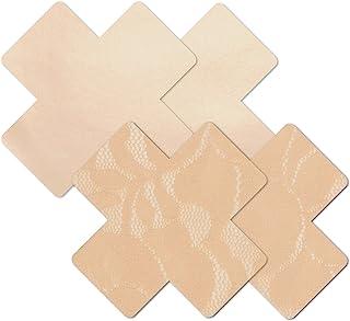 Nippies Beige Creme Cross Waterproof Self Adhesive Fabric Nipple Cover Pasties 2 Pairs