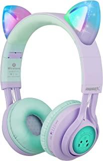 儿童耳机,Riwbox CT-7S 猫耳蓝牙耳机 85dB 音量限制,LED 发光儿童无线耳机头戴式耳机带麦克风,适用于 iPhone/iPad/Kindle/Laptop/PC/TV5823856030