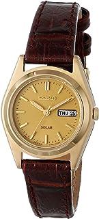 SEIKO 女式 goldtone 棕色皮革表带手表