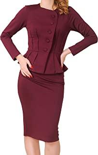 Marycrafts 女式正式办公室商务衬衫夹克裙套装
