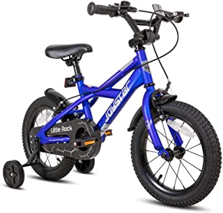 JOYSTAR 小摇滚儿童自行车 适合 3-9 岁男孩和女孩,带训练轮和双手刹 易于组装 14 16 18 英寸车轮儿童自行车 黑色 蓝色 紫色