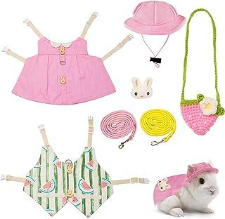 2 套宠物兔礼服,透气小动物胸背带背心和马甲兔子胸背带和牵引绳宠物服装,适用于兔刺猬雪貂猪松鼠贵宾犬小猫(粉色和西瓜色)