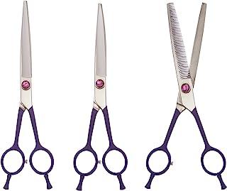 ShearsDirect 3 件套日本不锈钢直发、弯曲和 46 个齿剪刀套装,7.5 英寸