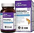 New Chapter Wholemega鱼油软胶囊,野生阿拉斯加三文鱼油,含有Omega-3 +维生素D3 +虾青素,90粒