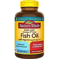 Nature Made 鱼油 1200毫克软胶囊,含有Omega-3,少打嗝成分,120粒(包装可能有所不同)