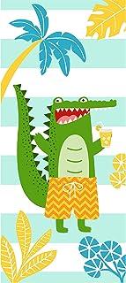 BATTILO HOME 创意趣味沙滩浴巾毯,鳄鱼动物沙滩毯,超大号,适用于海滩露营室内游泳池(鳄鱼,71 英寸)