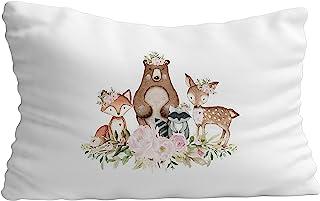枕套礼物 - 幼儿卧室枕套,男婴 | 动物主题装饰床上用品枕套白色缎面枕套 - 19.7 X 30 英寸