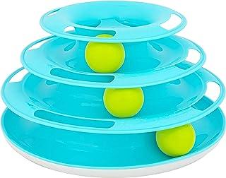 OurPets Wobble 三重追逐塔球轨道猫玩具室内猫小猫玩具,用于狩猎和追逐,3 级滚动球,适合多只猫互动玩耍