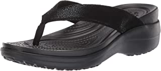 crocs 卡骆驰 Capri MetallicText 女士坡跟夹板拖鞋