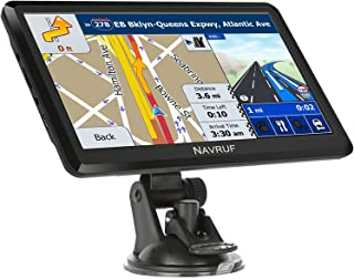 NAVRUF 汽车 GPS 导航,7 英寸高清触摸屏语音广播导航,顶部装载的北美地图包含终身地图免费更新