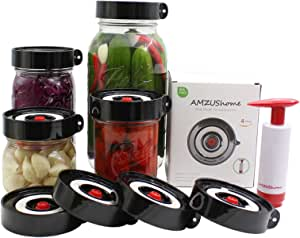 AMZUShome 发酵盖套件无水气锁适用于广口梅森罐发酵非鳄鱼锅,制作 Sauerkraut,Kimchi,皮签或发*食品。 4 包 + 1 泵 + 1 海绵刷 黑色 FM-0001
