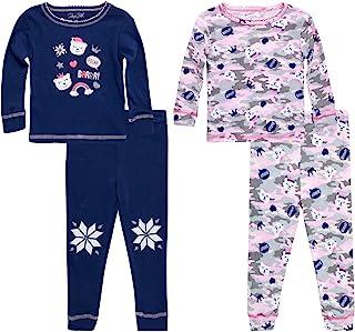 Rene Rofe 女婴睡衣套装 - 4 件套舒适棉质睡衣长袖 T 恤和慢跑睡衣短裤套装(婴幼儿)