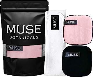 可重复使用的卸妆垫(3 件)| 水疗毛巾棉弹力头带 | 双面超细纤维清洁海绵,可去除 MUSE botanicals 的重质化妆品和粘土面具