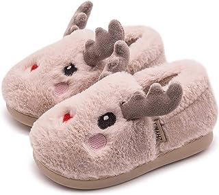 男孩女孩可爱卡通动物鹿拖鞋毛绒毛皮衬里冬季温暖家居拖鞋防滑室内户外鞋适合幼儿/小孩