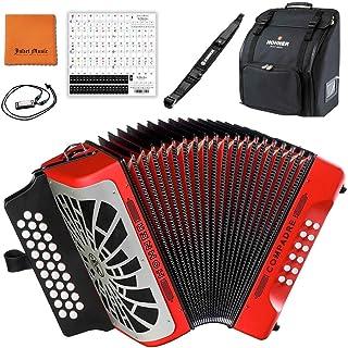 Hohner COGR Compadre GCF 手风琴,红色和银色格栅套装,配有 Hohner 包、表带、迷你口琴、朱丽叶音乐抛光布和钢琴钥匙贴纸